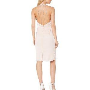 Bebe Halter Rhinestone Dress Open Back Midi Pink 6